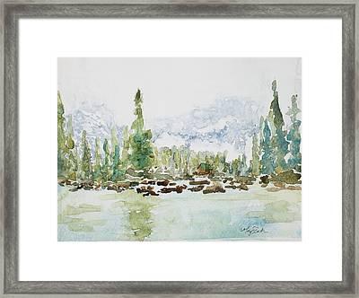 Misty Mountain Lake Framed Print by Mary Benke
