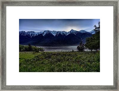 Framed Print featuring the photograph Misty Mountain Morning Meadow  by Darcy Michaelchuk