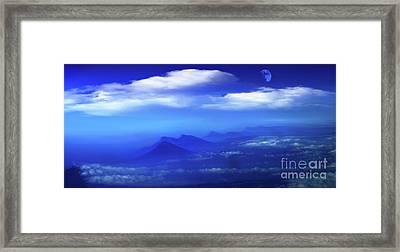 Misty Mountains Of San Salvador Panorama Framed Print by Al Bourassa