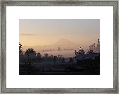 Misty Mt. Rainier Sunrise Framed Print