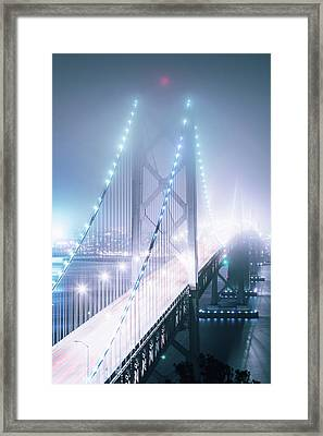 Misty Night, Bay Bridge, San Francisco Framed Print by Vincent James