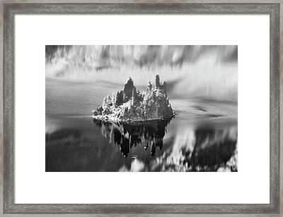 Misty Phantom Ship Island Crater Lake B W  Framed Print by Frank Wilson