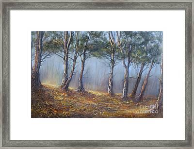 Misty Pines Framed Print by Valerie Travers