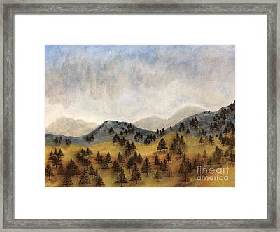 Misty Rain On The Mountain Framed Print