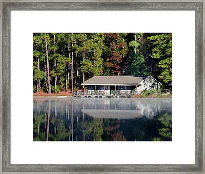 Framed Print featuring the photograph Misty Reflection At Durant by George Randy Bass