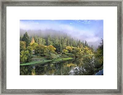Misty Russian River Framed Print by Peter Dyke