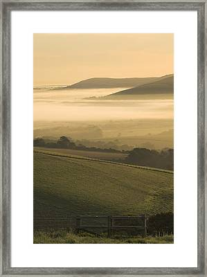 Misty South Downs Framed Print