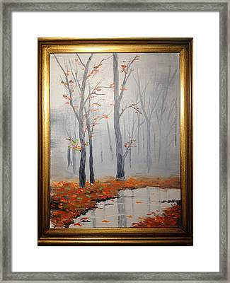 Misty Stream In Autumn Framed Print