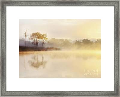 Misty Sunrise At Ledard Point On Loch Ard Framed Print by Janet Burdon