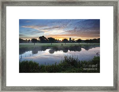 Misty Sunrise At Sudbury Water Meadows Framed Print by Mark Sunderland