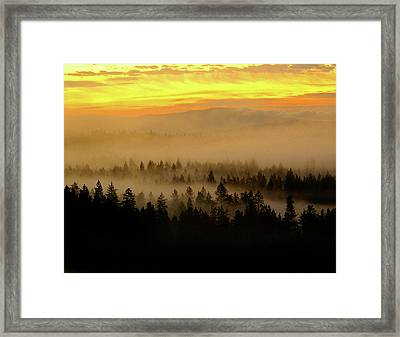 Framed Print featuring the photograph Misty Sunrise by Ben Upham III
