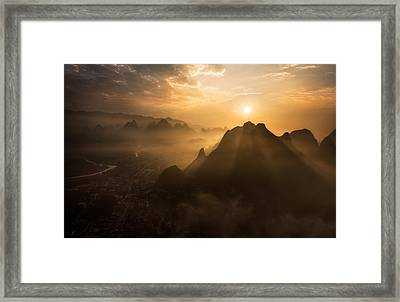 Misty Sunrise Framed Print by Nadav Jonas