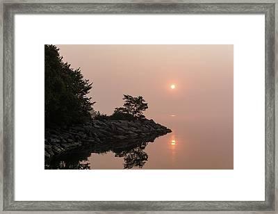 Misty Sunrise On The Lake - Soft Pink Fog And Sunshine Framed Print