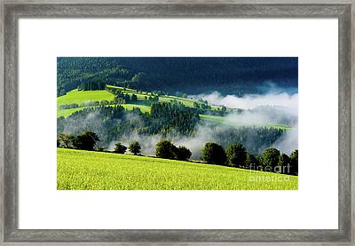 Misty Valley In Austria Framed Print