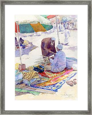 Miswak Seller Jeddah Framed Print by Dorothy Boyer