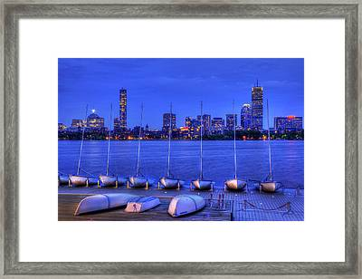 Mit Sailing Pavilion And The Boston Skyline At Night Framed Print by Joann Vitali