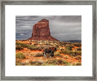Mitchell Butte And Horses Framed Print