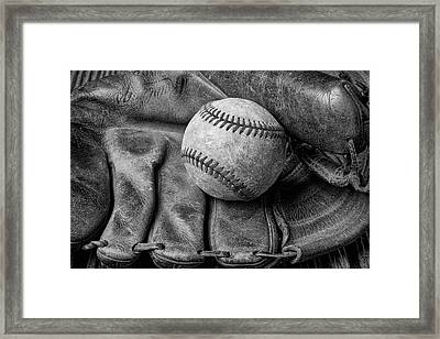 Mitt And Ball Black And White Framed Print