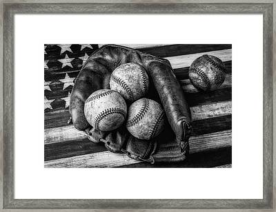 Mitt With Three Balls Black And White Framed Print by Garry Gay