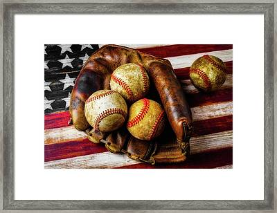 Mitt With Three Balls Framed Print by Garry Gay