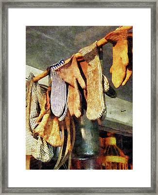 Mittens In General Store Framed Print