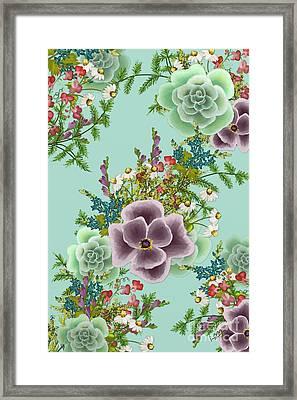 Mixed Floral On Light Blue Framed Print