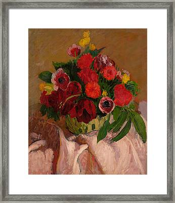 Mixed Flowers On Pink Cloth Framed Print