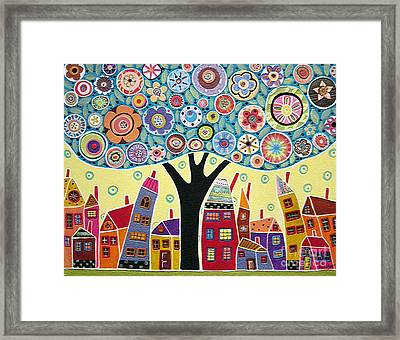 Mixed Media Collage Tree And Houses Framed Print by Karla Gerard