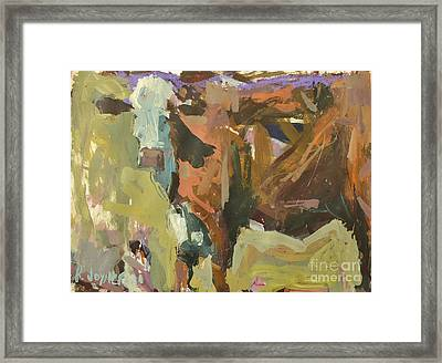 Framed Print featuring the painting Mixed Media Cow Painting by Robert Joyner
