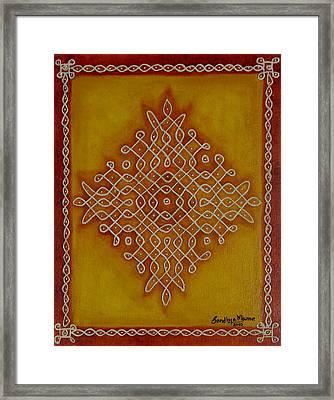 Mixed Media Kolam One Framed Print by Sandhya Manne