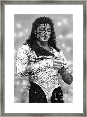 Mj Preps For The Show Framed Print