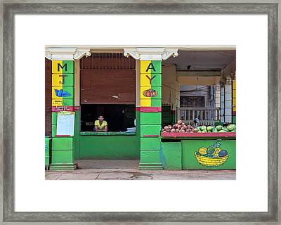 Framed Print featuring the photograph Mjay Fruit Stand Havana Cuba by Charles Harden