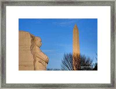 Mlk And Washington Monuments Framed Print by Olivier Le Queinec