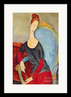 Mme Hebuterne In A Blue Chair Framed Prints