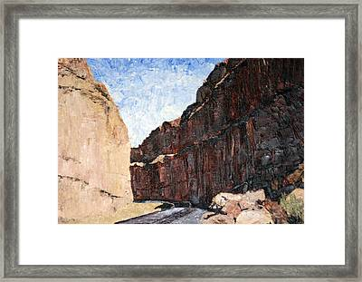 Framed Print featuring the painting Moab Train Tracks by Jane Autry