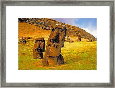 Moai Framed Print by Dennis Cox