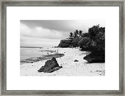 Moalboal Cebu White Sand Beach In Black And White Framed Print