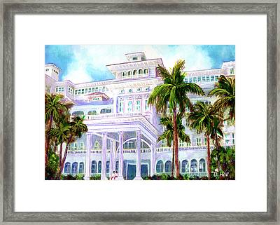 Moana Surfrider Hotel On Waikiki Beach #206 Framed Print by Donald k Hall