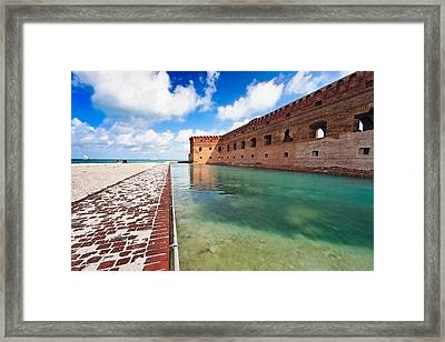 Moat And Walls Of Fort Jefferson Framed Print by George Oze