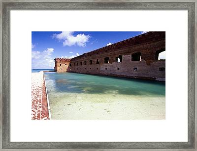 Moat Of A Brick Fort Fort Jefferson Framed Print by George Oze