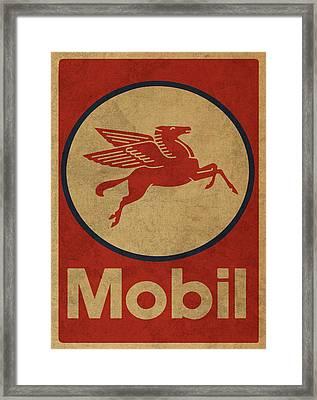 Mobil Oil Gas Station Sign Vintage Art Framed Print