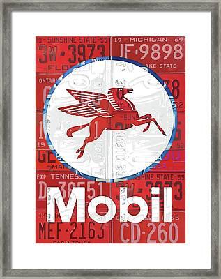 Mobil Oil Gas Station Vintage Sign Recycled License Plate Art Framed Print