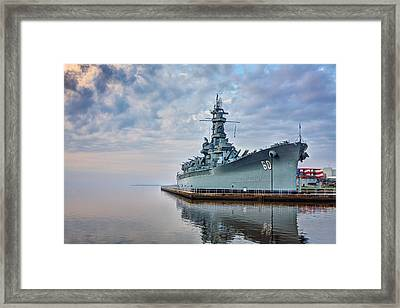 Mobile Bay And The Uss Alabama Framed Print