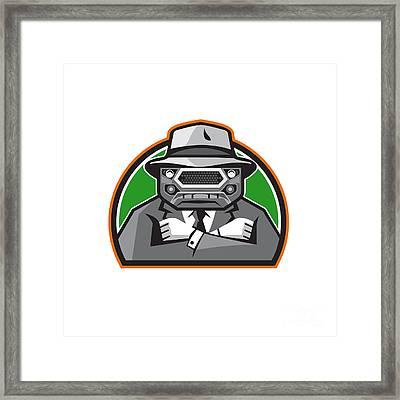 Mobster Car Grille Face Arms Folded Front Retro Framed Print