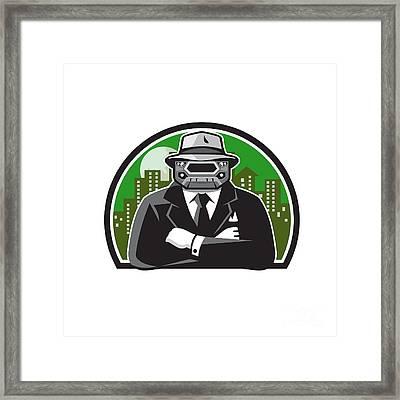 Mobster Car Grille Face Circle Retro Framed Print