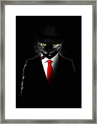 Mobster Cat Framed Print by Nicklas Gustafsson