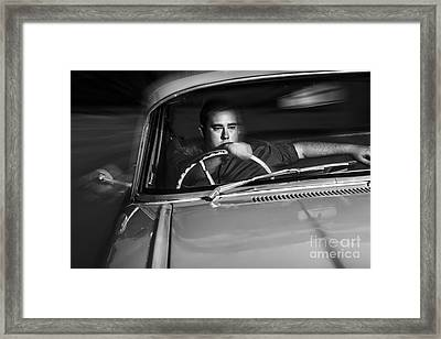 Mobster Driving Getaway Vehicle During Car Chase Framed Print by Jorgo Photography - Wall Art Gallery