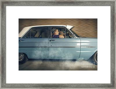 Mobster Man From 1950 Driving Getaway Car Framed Print by Jorgo Photography - Wall Art Gallery