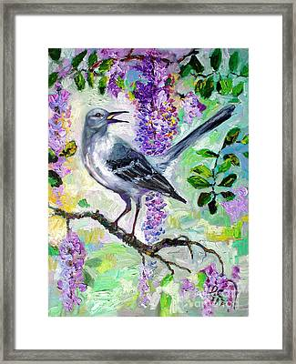 Mockingbird Song In Wisteria Framed Print by Ginette Callaway