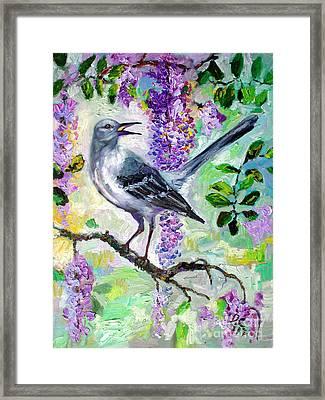 Mockingbird Song In Wisteria Framed Print